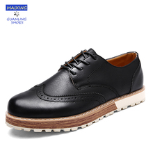 Men Brogue Sheos Flats Comfortable Leather Leisure Brogue Loafers Lace Up Vintage Oxfords Shoes for Mens 2017 Zapatos Brand