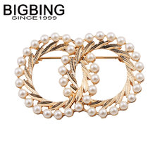 BIGBING Fashion jewelry golden pearl circle flower Brooch fashion Brooch good quality nickel free free shipping Q299