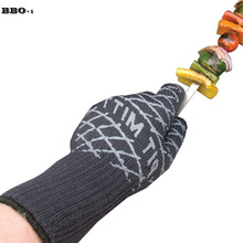 BBQ Grilling Cooking Gloves Grill Oven Mitts For Forearm Protection Extreme Heat Resistant Kitchen Barbecue Thick Oven Gloves(China)