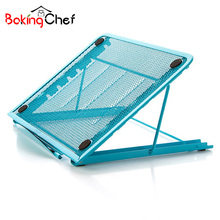 BAKINGCHEF Steel Foldable Laptop Tablet Storage Rack Computer Stand Adjustable Holder Home Organizer Accessories Supplies Gear(China)