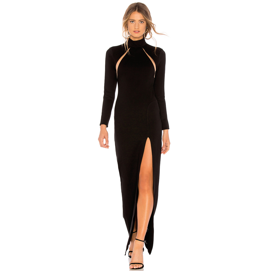 Imaginative Thight Side Slit Back Cut Out Bandage Black Dress Long Sleeve Mesh Patchwork Mock Neck Maxi Bodycon Dress Vestidos
