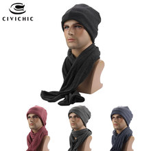 CIVICHIC Cotton Solid Spring Autumn Winter Warm Scarf Hat 2 Piece Set Men and Women Head Cap Neck Shawl Fleece Headwear SH129(China)