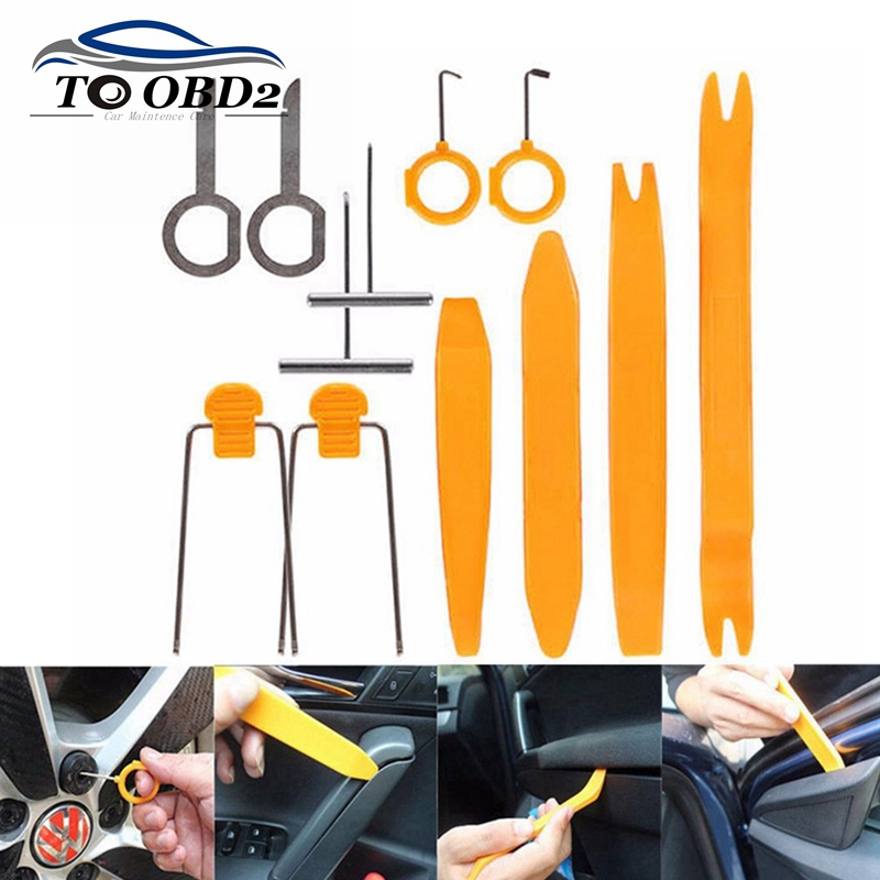 Car Audio Companion Removal Installer 12pcs/Set Door Clip Panel Kits Interior Molding Clip Hand Manual Distinctive Pry Tool(China (Mainland))