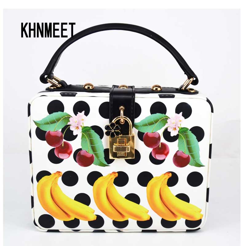 3D Print Fruit banana Pattern Evening Clutch Bag White PU Black Dot Lady Handbags Party Purse Wedding banquet Women Shoulder Bag<br>