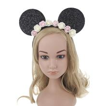 Cute Cartoon Flower Hairbands Children Girl Mickey Mouse Ears Headband Lovely Hair Accessories For Kids Woman C1