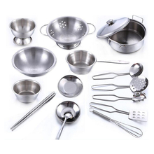 16pcs/set Early Learning Educational toy model simulation kitchen utensils toys stainless steel quality material Free shipping(China)