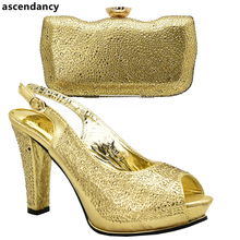 Gold Color African Matching Shoes and Bags Italian In Women Sales In Women Matching Shoes and Bag Set Party Shoes and Bag Sets(China)