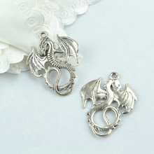 10 pcs Antique Silver Plated Zinc Alloy Dragon Charms Pendants for Jewelry Making DIY Handmade Craft 1905I(China)