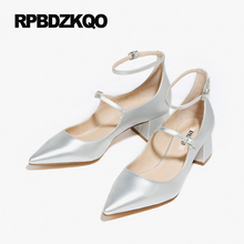 2017 Ankle Strap Medium Korean Pointed Toe Work Block Office Black Mary Janes Women Shoes Size 4 34 High Heels Patent Leather