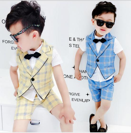 Summer Suits & Blazers Costume for Boy Cotton Baby Boys Suits Single Breasted Suits Boy Formal Wedding Wear vest shirt pant 3pcs