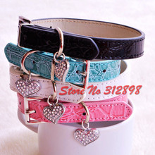 Rhinestone Senior PU Collar For Pet Dog BB004 Pink Red Blue Black Bling Bling Small Animals Puppy Pitbull Chihuahua Cat Product