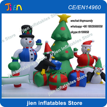 free air shipping to door,4x2x3mH Christmas decoration inflatable tree ornaments,snowman,pengiun,gift box(China)