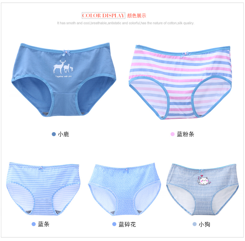5Pcs/lot Print Women Underwear Cotton Sexy Lace Panties Everyday Briefs Lingerie Girls Ladies Knickers M-XXL Mid-Rise for Women