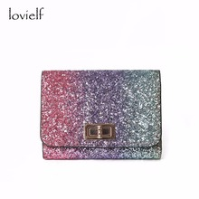 lovielf NEW Women Girl Lady Fashion Colorful Spangled sequined Bling Money Short Wallet Purse Case Card holder LW00029(China)