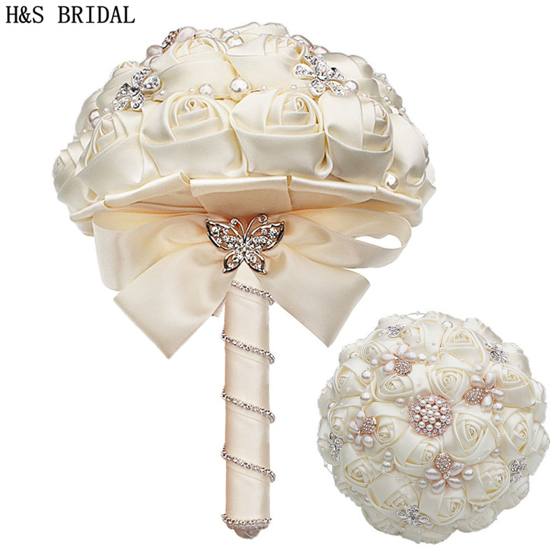 H&S BRIDAL Ivory Peals Wedding Flowers Bridal Bouquets Artificial Wedding Bouquets Home Wedding Decration buque de noiva 2019
