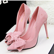 2017 Women Pumps Brand Women High Heels Shoes Sexy Bow Pointed Toe High Heels Ladies Shoes