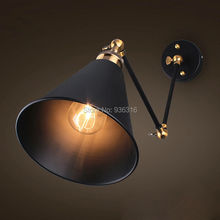 Industrial Retro Metal Wall Lamp Sconces Dining room Bedroom Light With Two Swing Arms black iron wall lights(China)