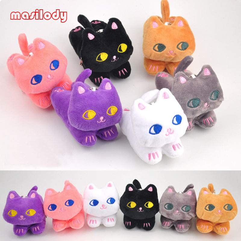 50pcs/lot Fur Cat Keychain Soft Plush Doll Key Chain Cartoon Animal toys key Ring Anime Bag Pendant Car Keychains Add Sand