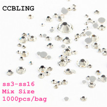 Mix Sizes 1000PCS/Pack Crystal Clear AB Non Hotfix Flatback Rhinestones Nail Rhinestoens For Nails 3D Nail Art Decoration Gems(China)