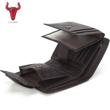 LY.SHARK Men Wallets Genuine Leather men wallet male clutch coin purse oil wax slim Short Men Wallet Purse Card Holder money bag(China)