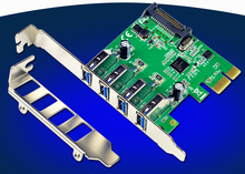 PCI Express Controller Card Adapter 4-Port USB 3.0 15-pin SATA w/ Low Profile Bracket