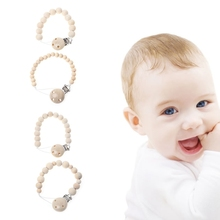 Buy Baby Nipple Clip Wooden Teether Chain Beads Chew Pacifier Infants Soother Holder for $1.20 in AliExpress store