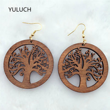 hot pair personality New design Big handmade Natural african red wood tree earrings jewelry  lot