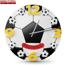 12 Inch Football Wall Clock Modern Design Creative Children Bedroom Wall Watch Mute Living Room Cartoon Digital Clock Wall(China)