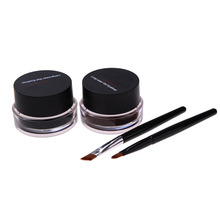 New 2-in-1 Brown Black Gel Waterproof Liquid Eyeliner Long-lasting Eye Liner Shadow Beauty Cosmetics Make UP Set With Brushes