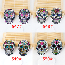 50pcs Mixed Cartoon Tattoo Skull Head Resin Flatback Assorted Planar Resin DIY Craft for Mobile Phone Decoration Accessories