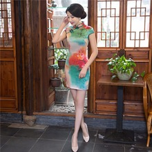 Free shipping red qipao chinese dress modern qipao dress Cheongsam national trend chinese style Faux Silk vestido chino