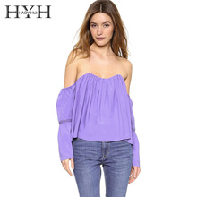 HYH Haoyihui 2017 Summer Fashion Solid Pullover lanternSleeve New Woman Clothing Tube Sexy Short Lace Flare Sleeve Casual Blouse