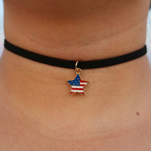 NK866 collier colar New Hot Men Fashion Short  Love Star Flag Necklace Tattoo Collares Bijoux For Women Jewelry Cheap Choker