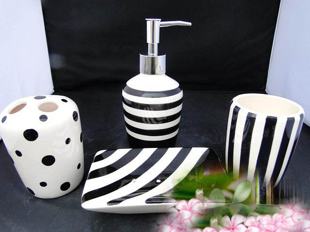 Fashion black and white ceramic bathroom supplies wash 4piece cup set lotion bottle+mug+toothbrush holder +soap dish(China (Mainland))