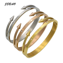 "JSBAO Hot Sale Conical Arrow Imitation Crystal Bracelets & Bangles ""Eternal love"" Nail Cuff Bracelet For Women Jewelry"