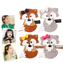 Newly Design Fashion Cute Cartoon Fox Baby Hairpins Princess Barrette Kids Hair Clips Children Headwear Girls Hair Accessories