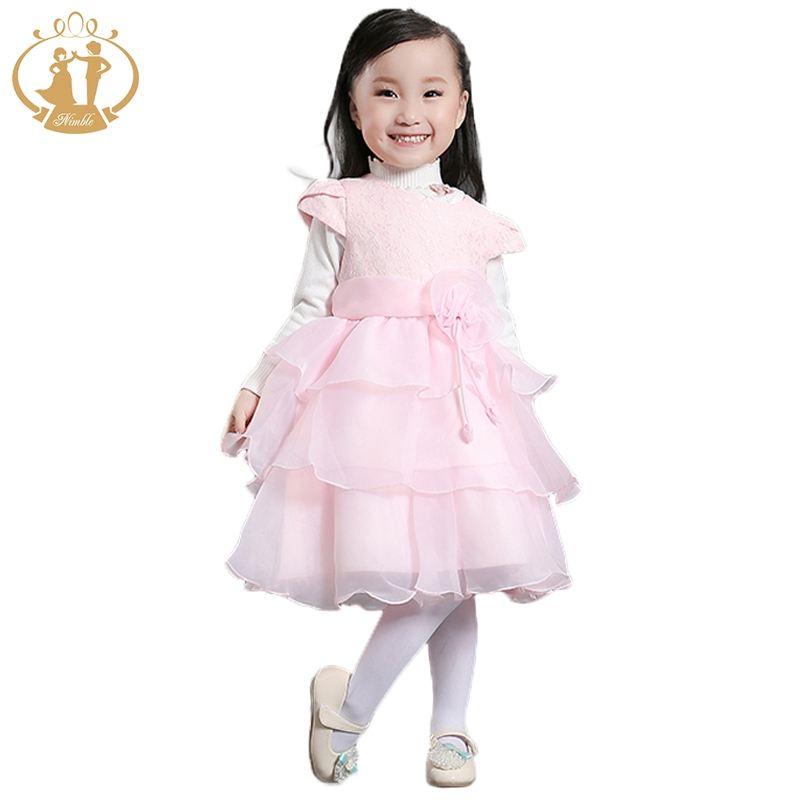 Nimble Baby Girls Birthday Party  Pink Ivory Dress Lolita Style O-Neck Knee-Length Ball Gown Princess Dress 2017 New Arrival<br><br>Aliexpress