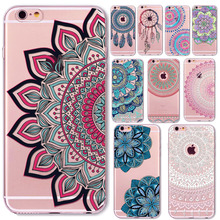 for iPhone 4s 5 5S SE 6 6S / Plus 7 Transparent Soft Silicon Floral Paisley Flower Mandala Henna Dream Catcher Mobile Phone Bag