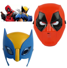 Marvel Movie Deadpool costume mask cosplay for kids2016 New X-man deadpool Wolverine Light Mask Performing props Halloween Gift(China)