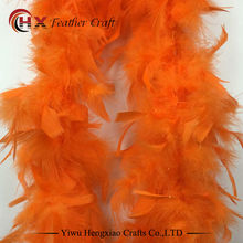 2 meters chicken Feather Strip orange Turkey Feather Boa for wedding birthday party wedding decorations clothing accessories