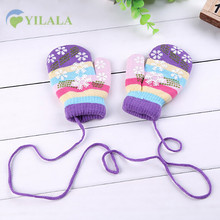 Snowflake Winter Baby Glove Warm Knitted Toddler Mittens Cotton Stripped Kids Gloves Striped Colorful Gloves Baby Boys Clothing(China)