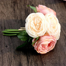 Home Wider Hot Selling Artificial Rose Silk Flowers 5 Flower Head Leaf Garden Decor DIY pink Wholesale Free Shipping