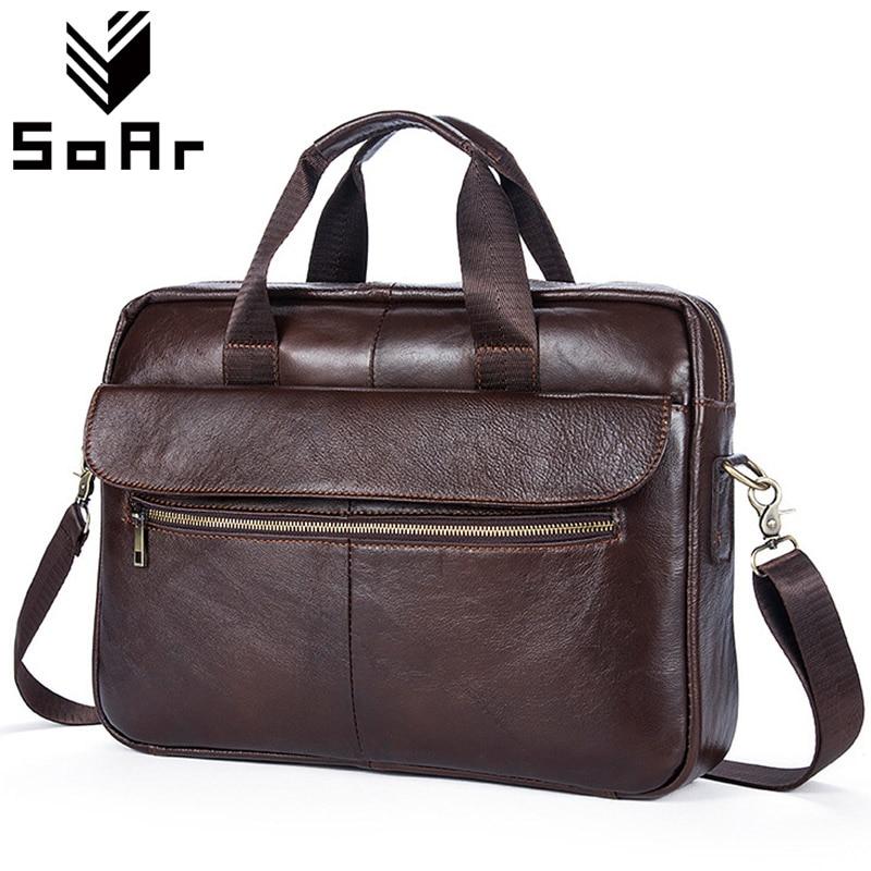 SoAr Vintage Genuine Leather Men Bag Shoulder Messenger Bag Man Business Briefcase Handbag Solid Retro Famous Brands Travel Bags<br>
