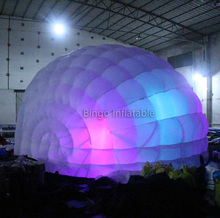half dome led light inflatable tent with air blower/air dome tent/led bar tent with shell shape toy tent