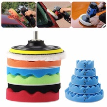 7Pcs/set 3/4/5/6/7'' Car Polisher Polishing Waxing Buffing Woolen & Sponge Pads Kit Car Maintenance Tools C45