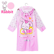 Lovely Cartoon Waterproof Kids Rain Coat For Children Raincoat Rainwear/Rainsuit Kids Boy Girl Rabibit Kitty Raincoat Poncho(China)