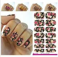 2017 New Nail Sticker Nail Art Hot Sale Minx Red Rose Flower Full Cover Sticker Water Transfer Foils Flowers Design Tools V604