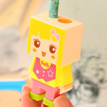 1PCS Random Color Creative Square Doll design double holes pencil sharpener set with eraser Kids Funny Toys