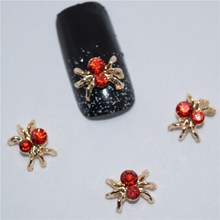 10psc New Red Diamond spider 3D Nail Art Decorations,Alloy Nail Charms,Nails Rhinestones Nail Supplies #094(China)