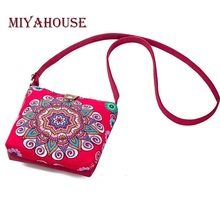 Miyahouse Summer Canvas Shoulder Flap Bags Women Small Beach Phone Bag Ladies Floral Printed Crossbody Messenger Bag For Girls